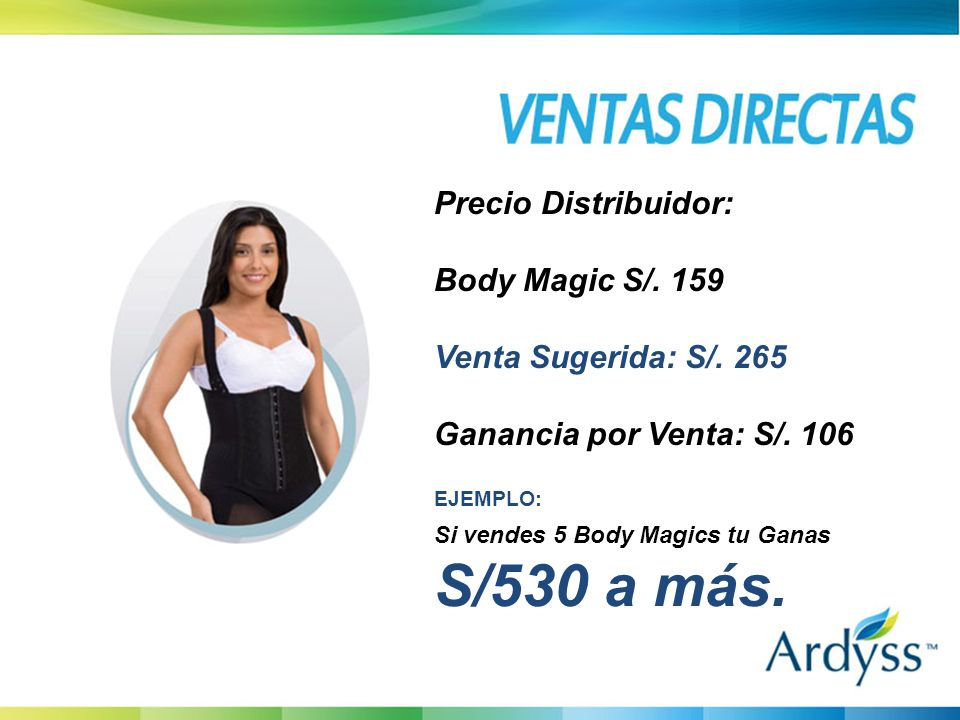 BODY MAGIC / 159 VENTA A PUBLICOS/265 UTILIDAD S/ 106 Precio Distribuidor: Body Magic S/.