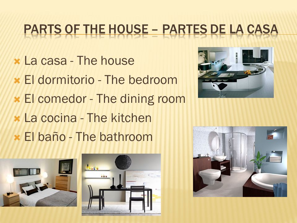 La casa - The house El dormitorio - The bedroom El comedor - The dining room La cocina - The kitchen El baño - The bathroom