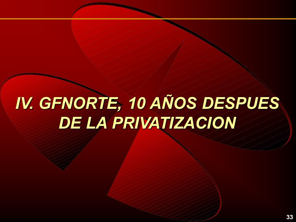 33 IV. GFNORTE, 10 AÑOS DESPUES DE LA PRIVATIZACION