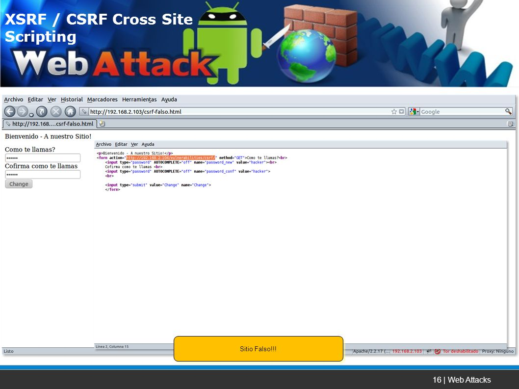 16 | Web Attacks XSRF / CSRF Cross Site Scripting Sitio Falso!!!