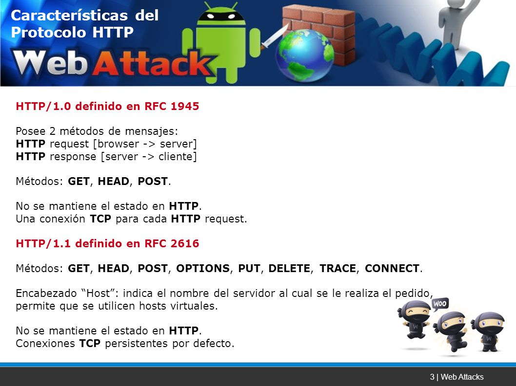 3 | Web Attacks HTTP/1.0 definido en RFC 1945 Posee 2 métodos de mensajes: HTTP request [browser -> server] HTTP response [server -> cliente] Métodos: GET, HEAD, POST.