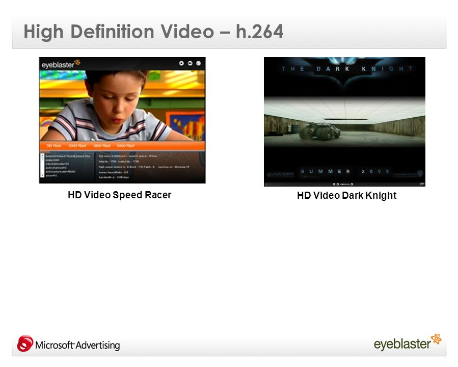 High Definition Video – h.264 HD Video Dark Knight HD Video Speed Racer