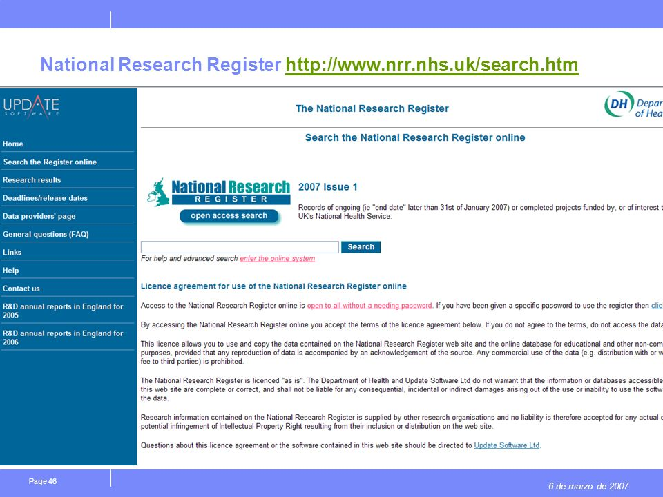 6 de marzo de 2007 Page 46 National Research Register