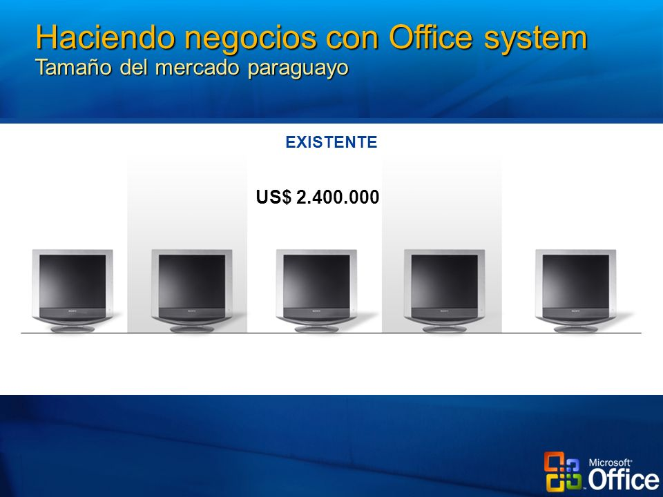 EXISTENTE Project Management Process Management Business Productivity Collaboration& Messaging Portals US$ Haciendo negocios con Office system Tamaño del mercado paraguayo