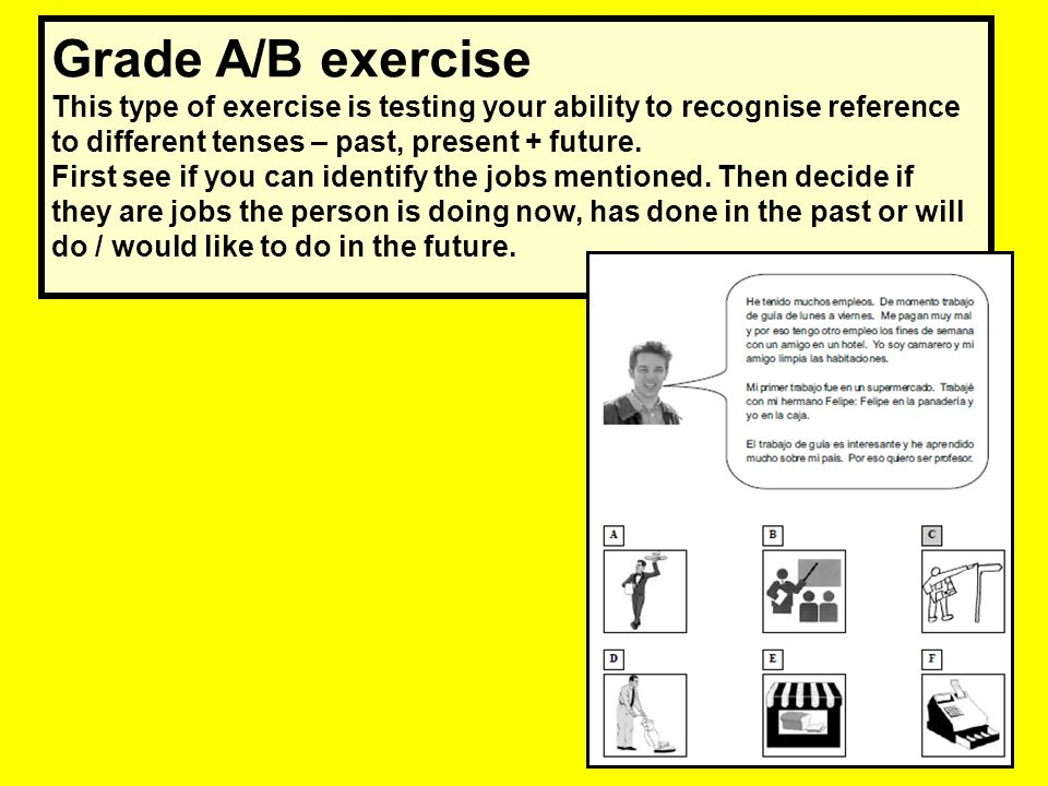 Grade A/B exercise This type of exercise is testing your ability to recognise reference to different tenses – past, present + future.
