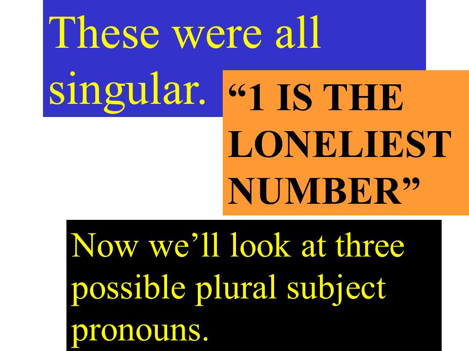 Now well look at three possible plural subject pronouns.