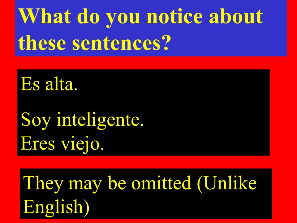 They may be omitted (Unlike English) What do you notice about these sentences.
