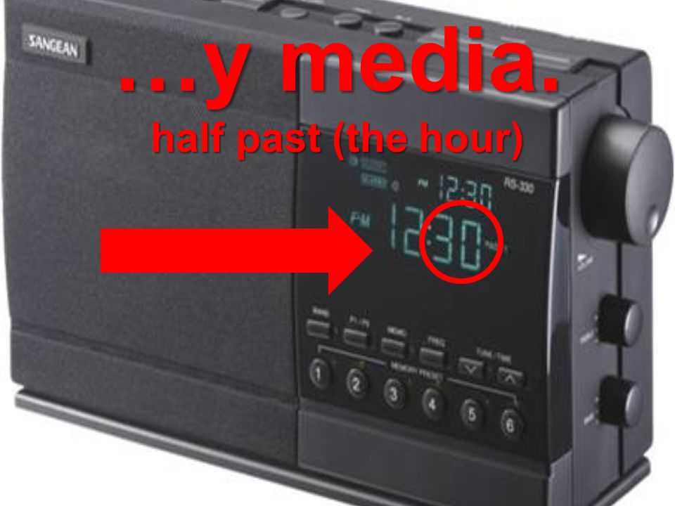 …y media. half past (the hour)