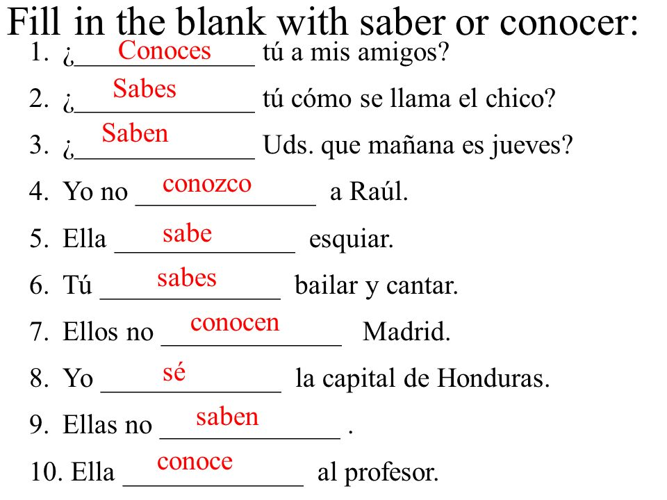 Fill in the blank with saber or conocer: 1.¿_____________ tú a mis amigos.