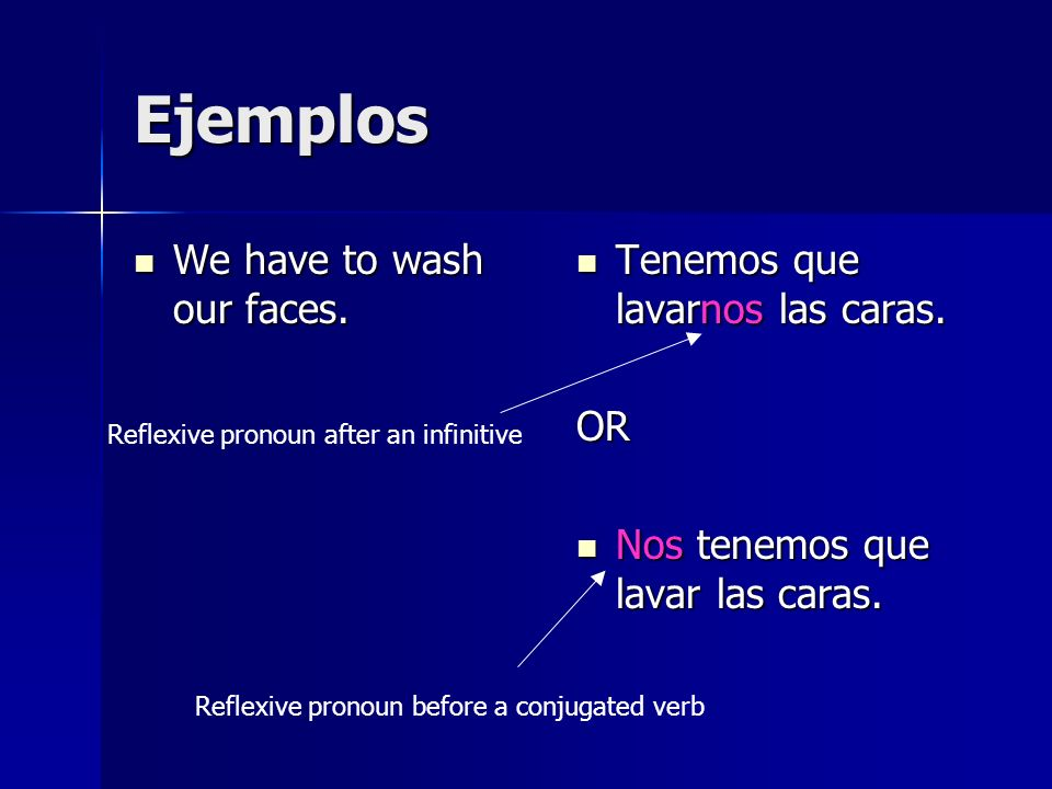 Ejemplos We have to wash our faces. We have to wash our faces.