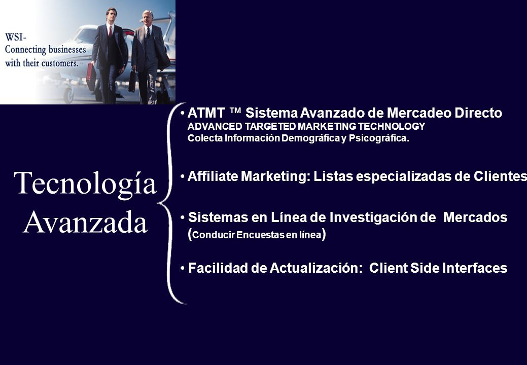 Tecnología Avanzada Facilidad de Actualización: Client Side Interfaces Affiliate Marketing: Listas especializadas de Clientes ATMT Sistema Avanzado de Mercadeo Directo ADVANCED TARGETED MARKETING TECHNOLOGY Colecta Información Demográfica y Psicográfica.