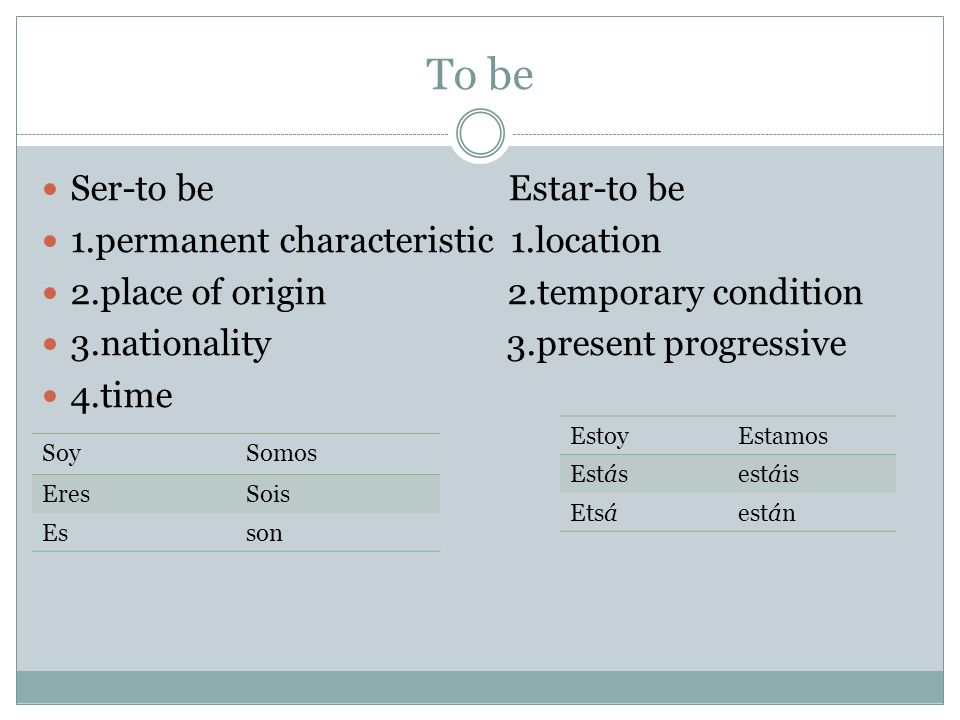 To be Ser-to be Estar-to be 1.permanent characteristic 1.location 2.place of origin 2.temporary condition 3.nationality 3.present progressive 4.time SoySomos EresSois Esson EstoyEstamos Estásestáis Etsáestán