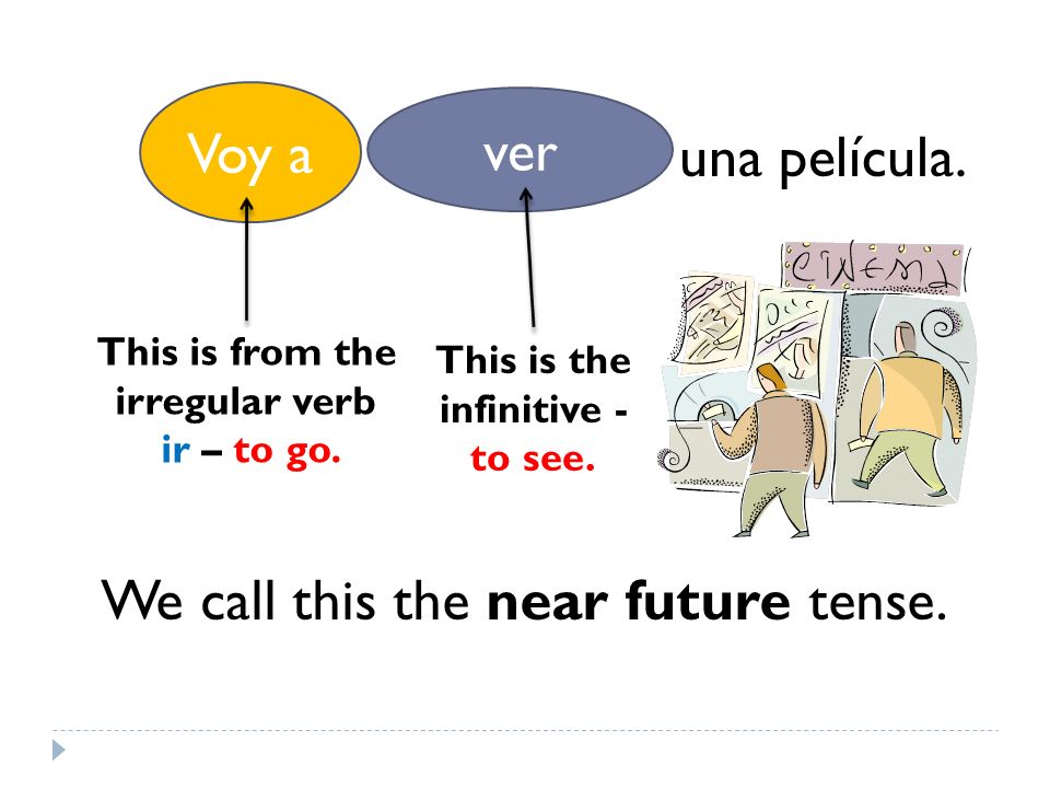 Voy a ver una película. Voy a This is from the irregular verb ir – to go.
