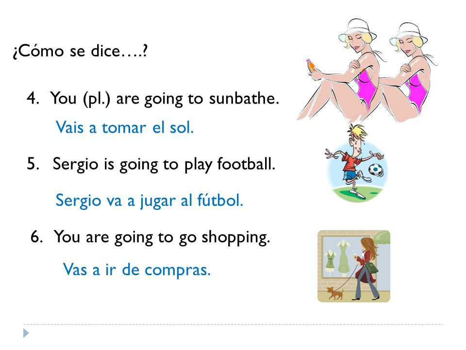 ¿Cómo se dice….. 4. You (pl.) are going to sunbathe.