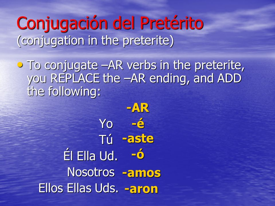 Conjugación del Pretérito (conjugation in the preterite) To conjugate –AR verbs in the preterite, you REPLACE the –AR ending, and ADD the following: To conjugate –AR verbs in the preterite, you REPLACE the –AR ending, and ADD the following:-AR Yo Yo Tú Él Ella Ud.