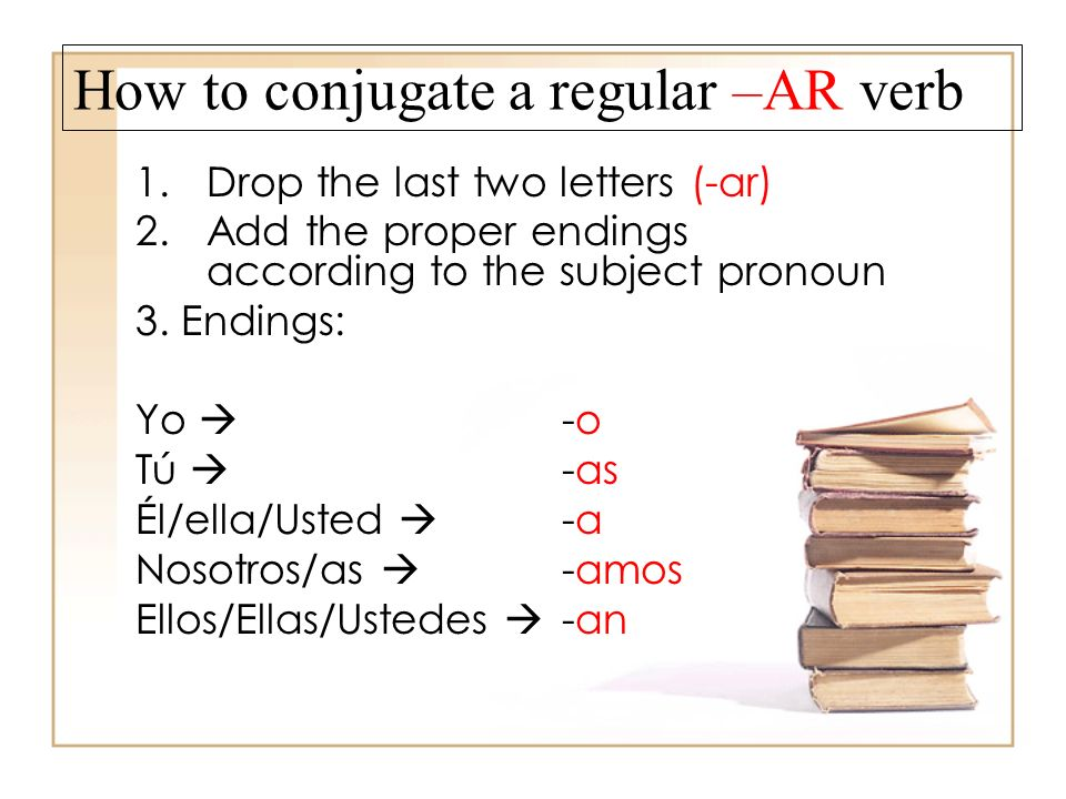 How to conjugate a regular –AR verb 1.Drop the last two letters (-ar) 2.Add the proper endings according to the subject pronoun 3.