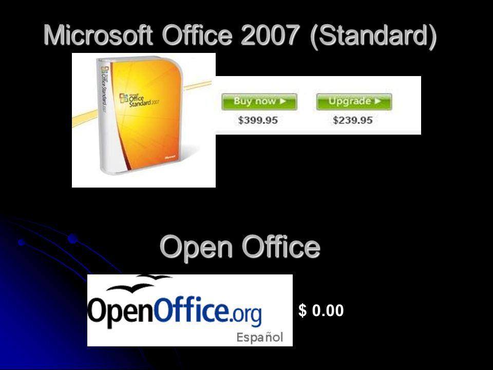 Microsoft Office 2007 (Standard) $ 0.00 Open Office