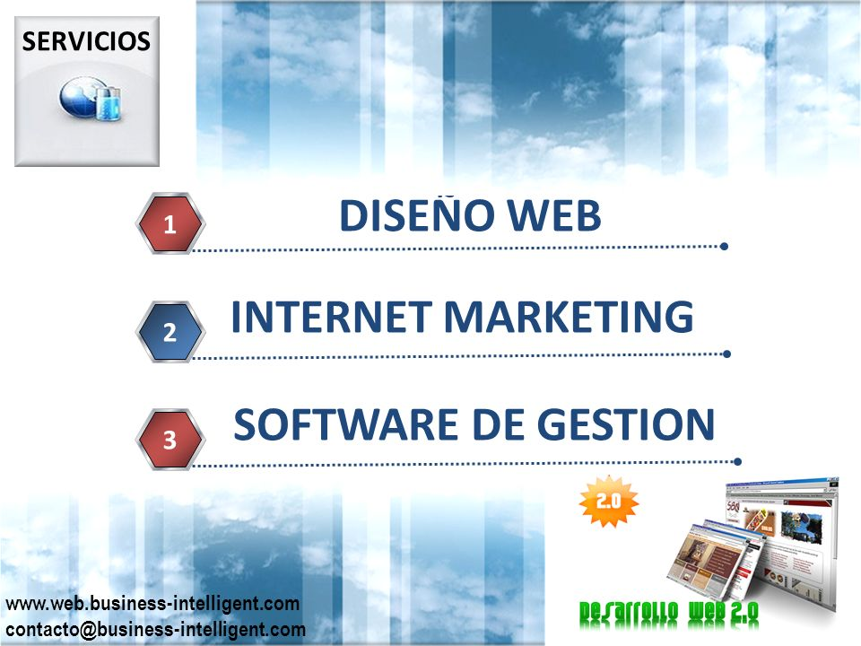 SERVICIOS DISEÑO WEB 1 INTERNET MARKETING 2 SOFTWARE DE GESTION 3 www.web.business-intelligent.com contacto@business-intelligent.com
