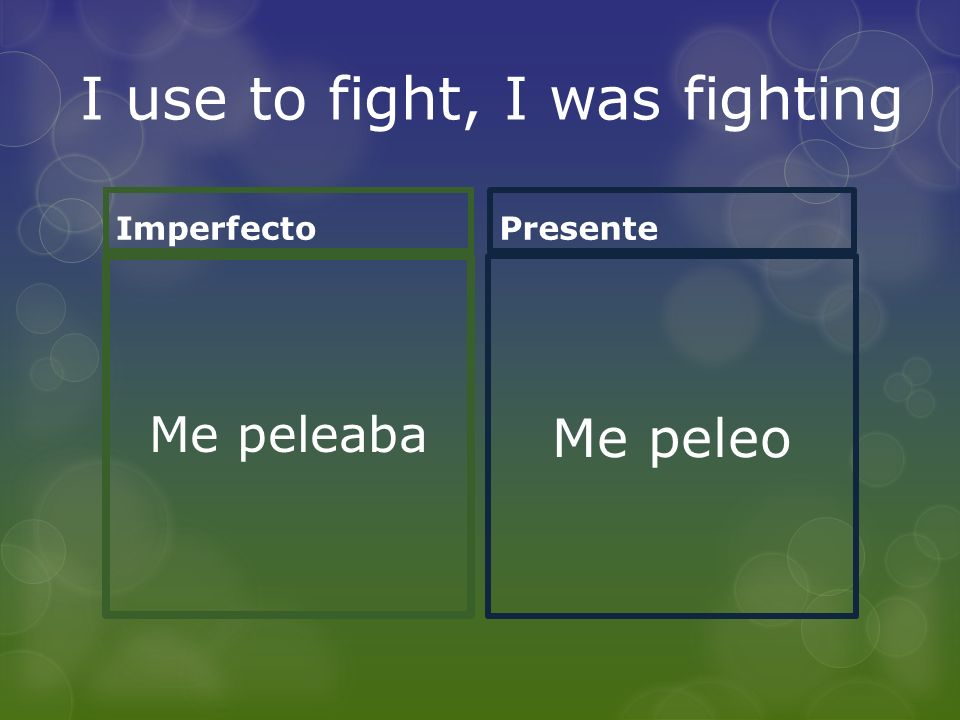 I use to fight, I was fighting Imperfecto Me peleaba Presente Me peleo