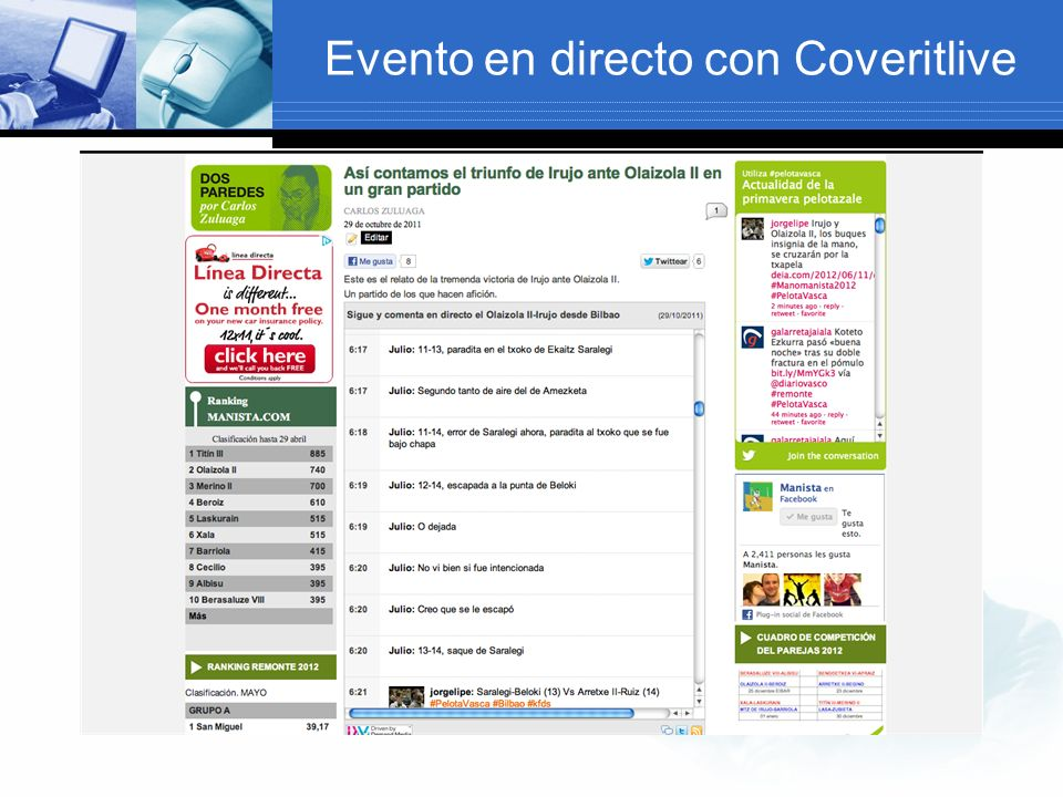 Evento en directo con Coveritlive