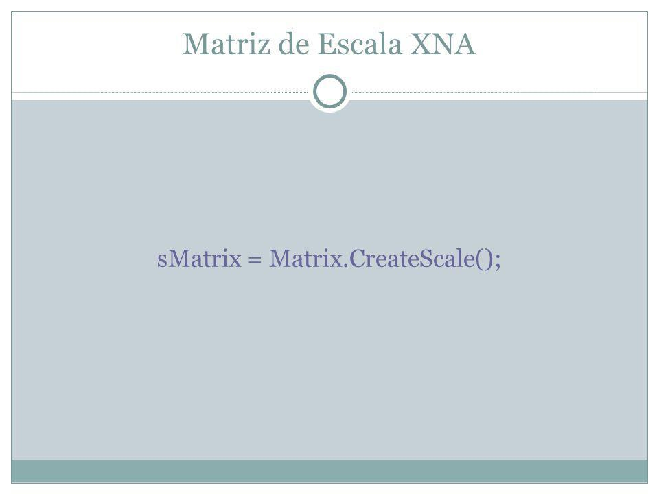 Matriz de Escala XNA sMatrix = Matrix.CreateScale();