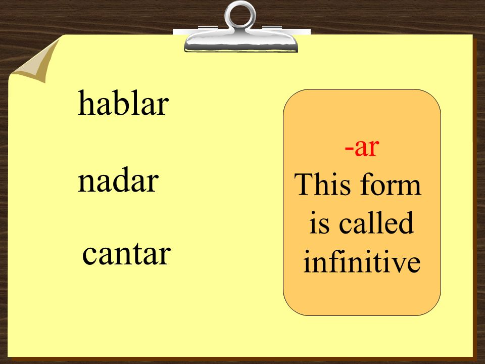 hablar nadar cantar -ar This form is called infinitive