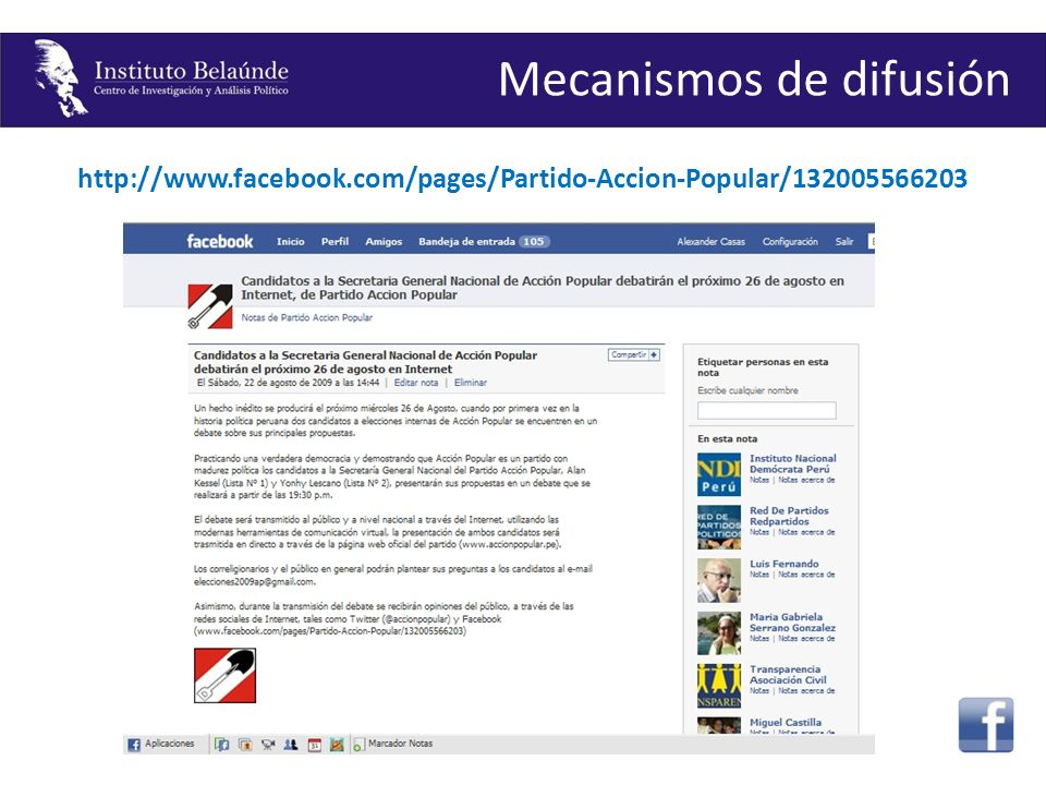 http://www.facebook.com/pages/Partido-Accion-Popular/132005566203 Mecanismos de difusión
