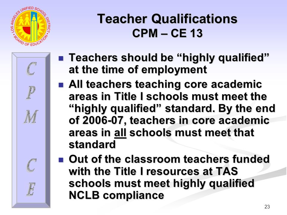 23 Teacher Qualifications CPM – CE 13 Teachers should be highly qualified at the time of employment Teachers should be highly qualified at the time of employment All teachers teaching core academic areas in Title I schools must meet the highly qualified standard.