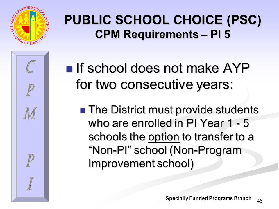 45 PUBLIC SCHOOL CHOICE (PSC) CPM Requirements – PI 5 If school does not make AYP for two consecutive years: If school does not make AYP for two consecutive years: The District must provide students who are enrolled in PI Year 1 - 5 schools the option to transfer to a Non-PI school (Non-Program Improvement school) The District must provide students who are enrolled in PI Year 1 - 5 schools the option to transfer to a Non-PI school (Non-Program Improvement school) Specially Funded Programs Branch