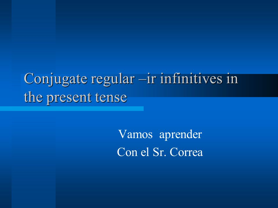 Conjugate regular –ir infinitives in the present tense Vamos aprender Con el Sr. Correa