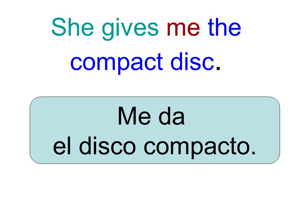 She gives me the compact disc. Me da el disco compacto.