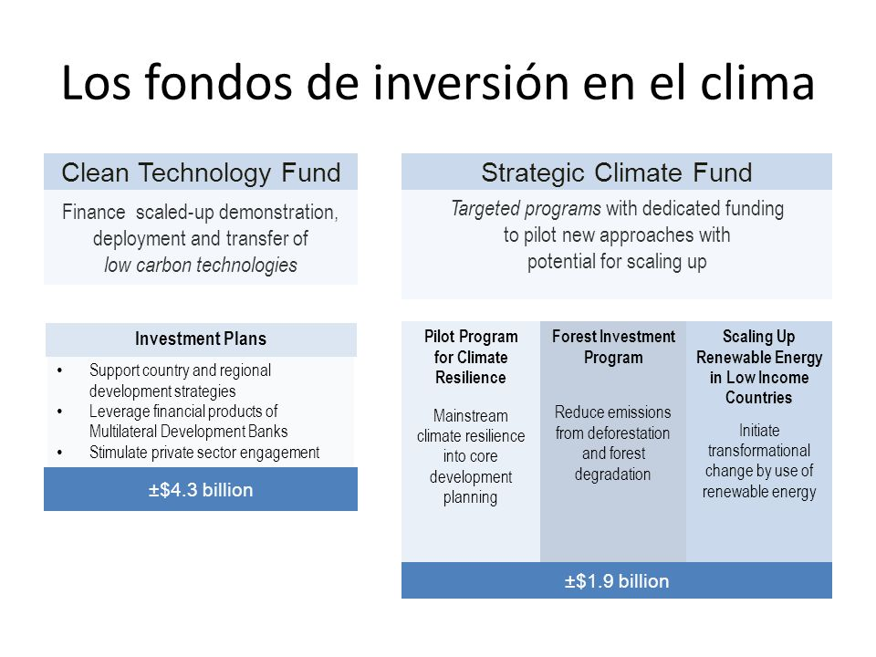 Los fondos de inversión en el clima Clean Technology Fund Finance scaled-up demonstration, deployment and transfer of low carbon technologies Strategic Climate Fund Targeted programs with dedicated funding to pilot new approaches with potential for scaling up Pilot Program for Climate Resilience Mainstream climate resilience into core development planning Forest Investment Program Reduce emissions from deforestation and forest degradation Scaling Up Renewable Energy in Low Income Countries Initiate transformational change by use of renewable energy ±$1.9 billion Investment Plans ±$4.3 billion Support country and regional development strategies Leverage financial products of Multilateral Development Banks Stimulate private sector engagement