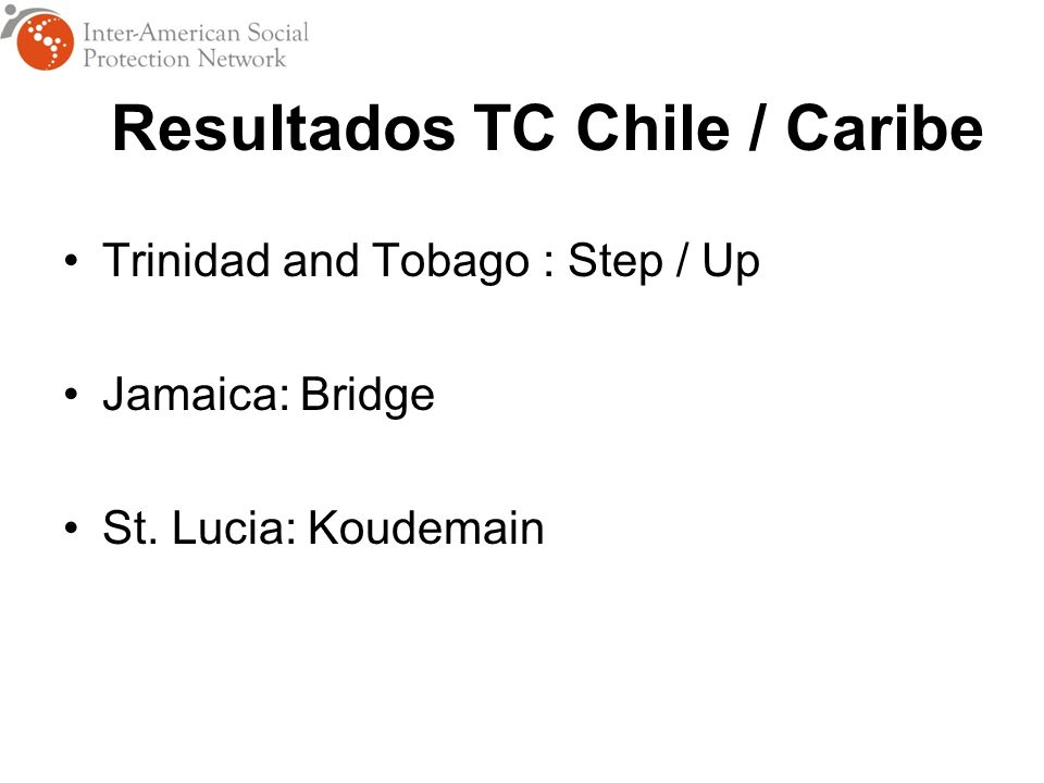 Resultados TC Chile / Caribe Trinidad and Tobago : Step / Up Jamaica: Bridge St. Lucia: Koudemain