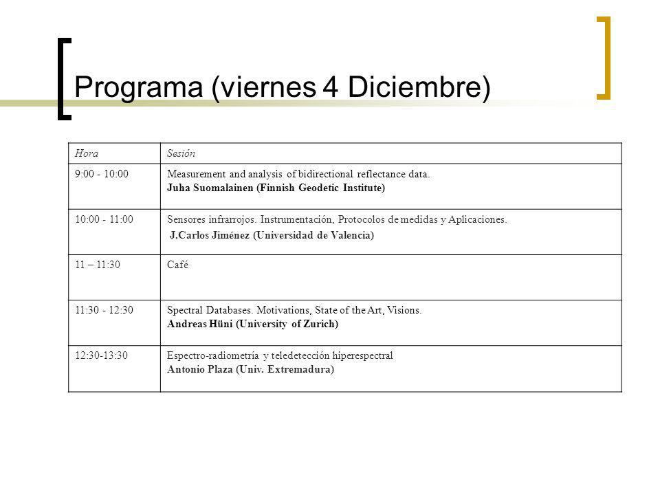 Programa (viernes 4 Diciembre) HoraSesión 9:00 - 10:00Measurement and analysis of bidirectional reflectance data.