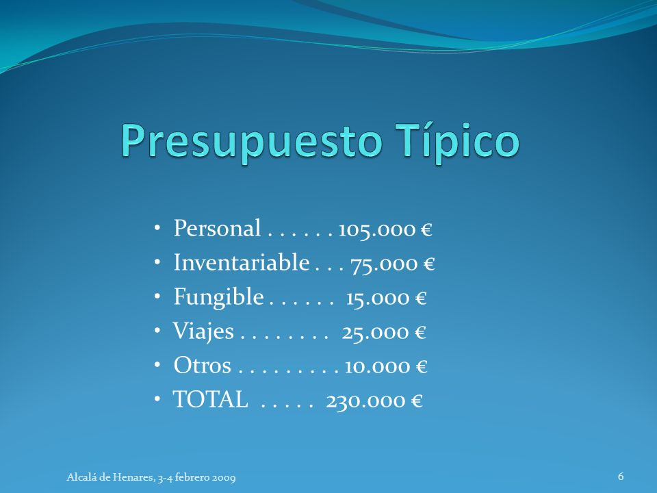 Personal...... 105.000 Inventariable... 75.000 Fungible......