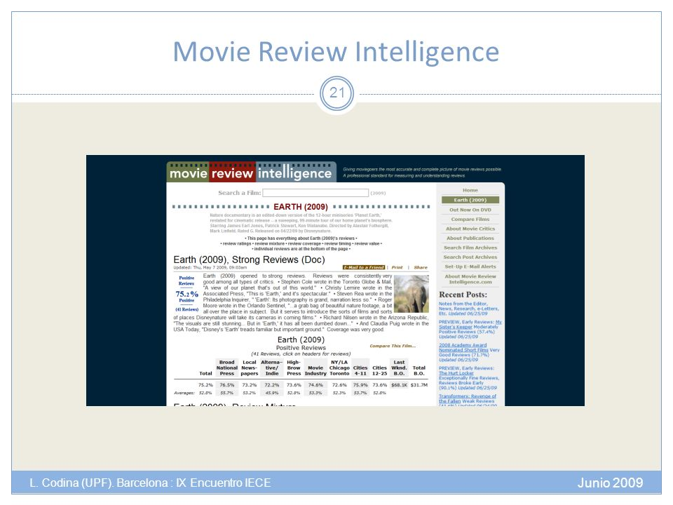 Movie Review Intelligence Junio 2009 L. Codina (UPF). Barcelona : IX Encuentro IECE 21