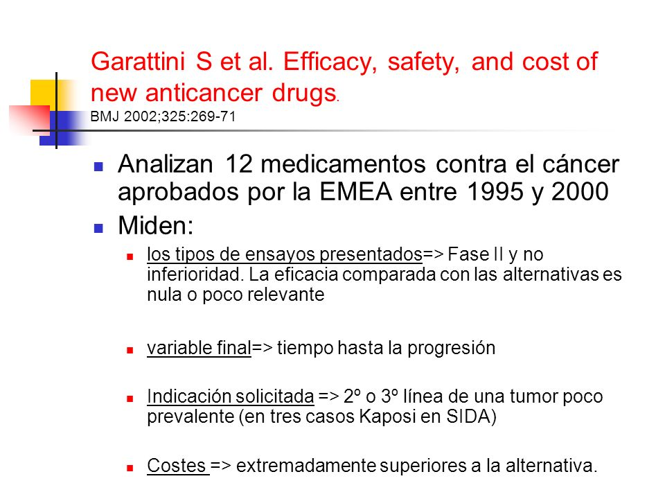Garattini S et al. Efficacy, safety, and cost of new anticancer drugs.