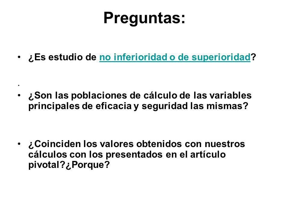 Preguntas: ¿Es estudio de no inferioridad o de superioridad no inferioridad o de superioridad.