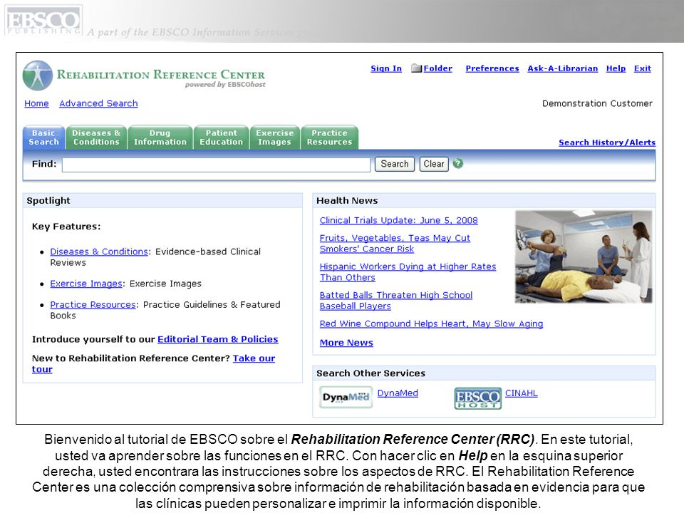 Bienvenido al tutorial de EBSCO sobre el Rehabilitation Reference Center (RRC).