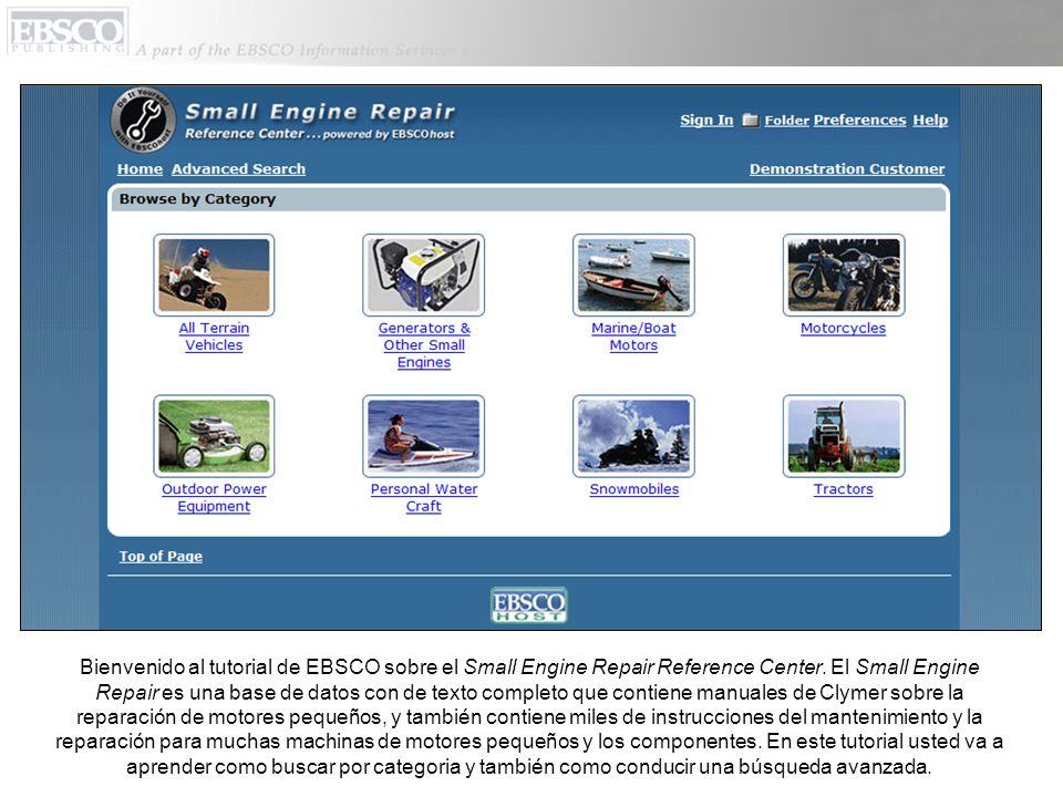 Bienvenido al tutorial de EBSCO sobre el Small Engine Repair Reference Center.