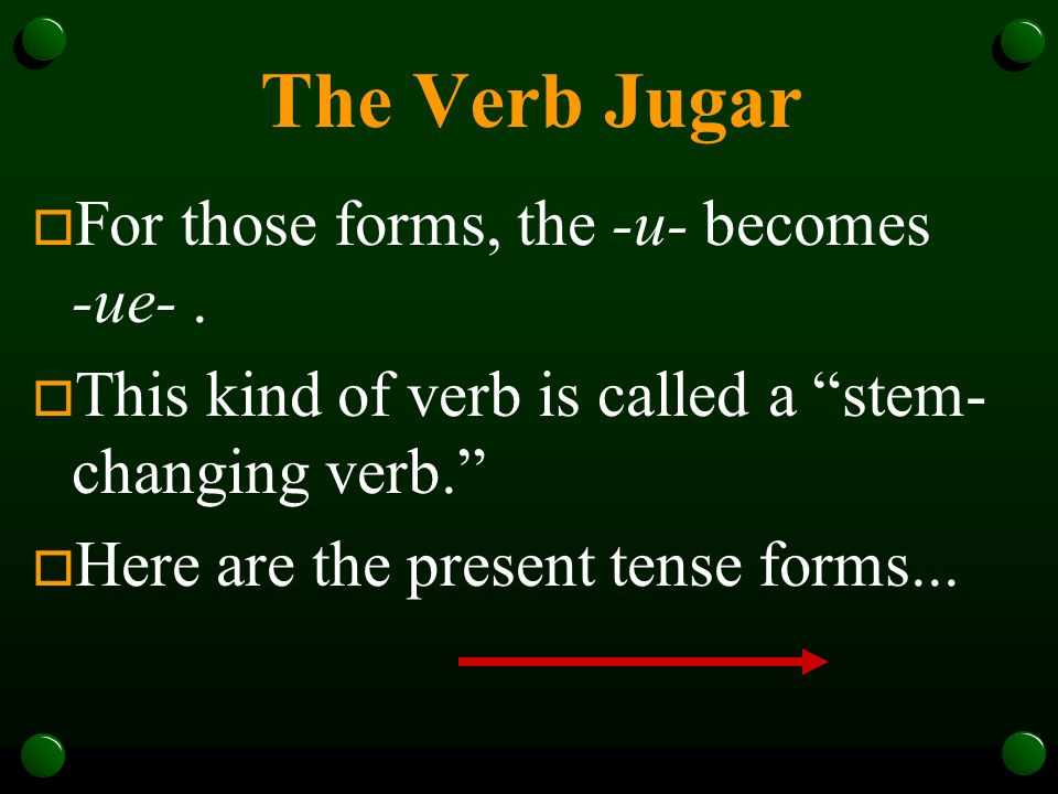The Verb Jugar o In Spanish, the verb jugar is used to talk about playing a sport or a game.