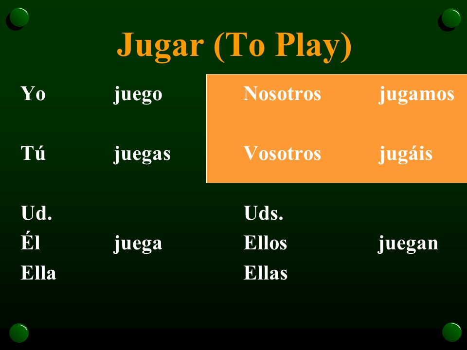 The Verb Jugar o For those forms, the -u- becomes -ue-.