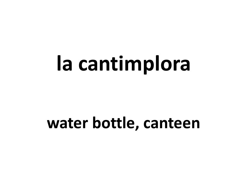 la cantimplora water bottle, canteen