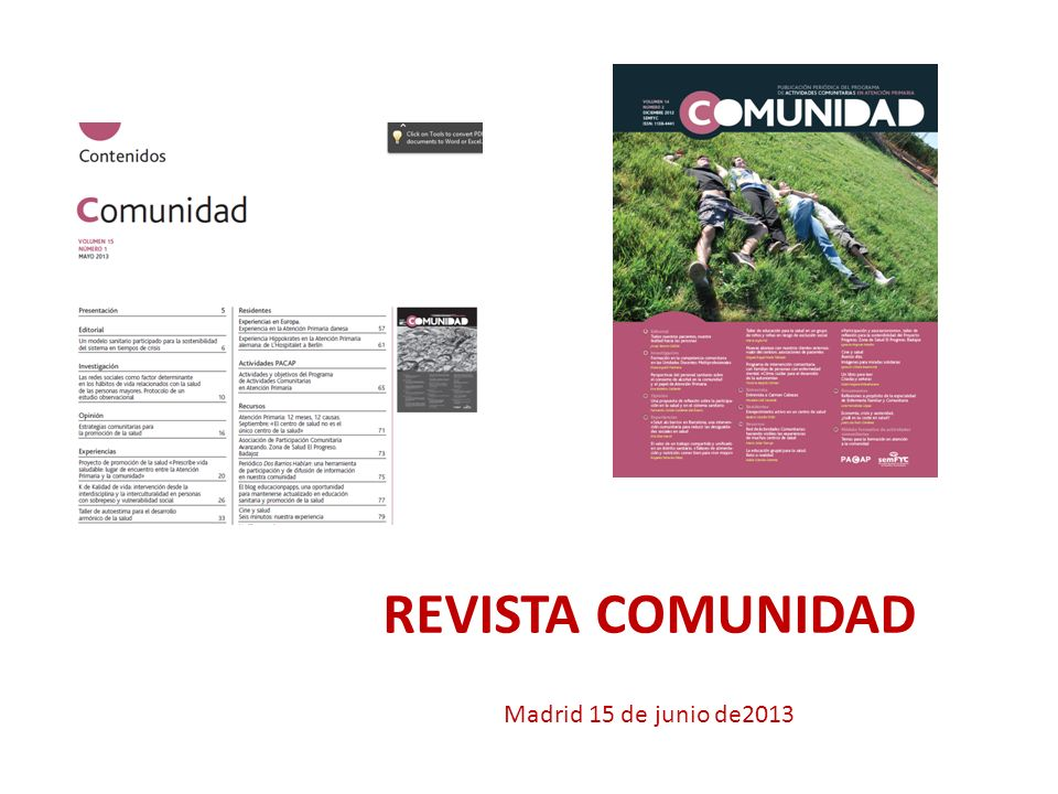REVISTA COMUNIDAD Madrid 15 de junio de2013