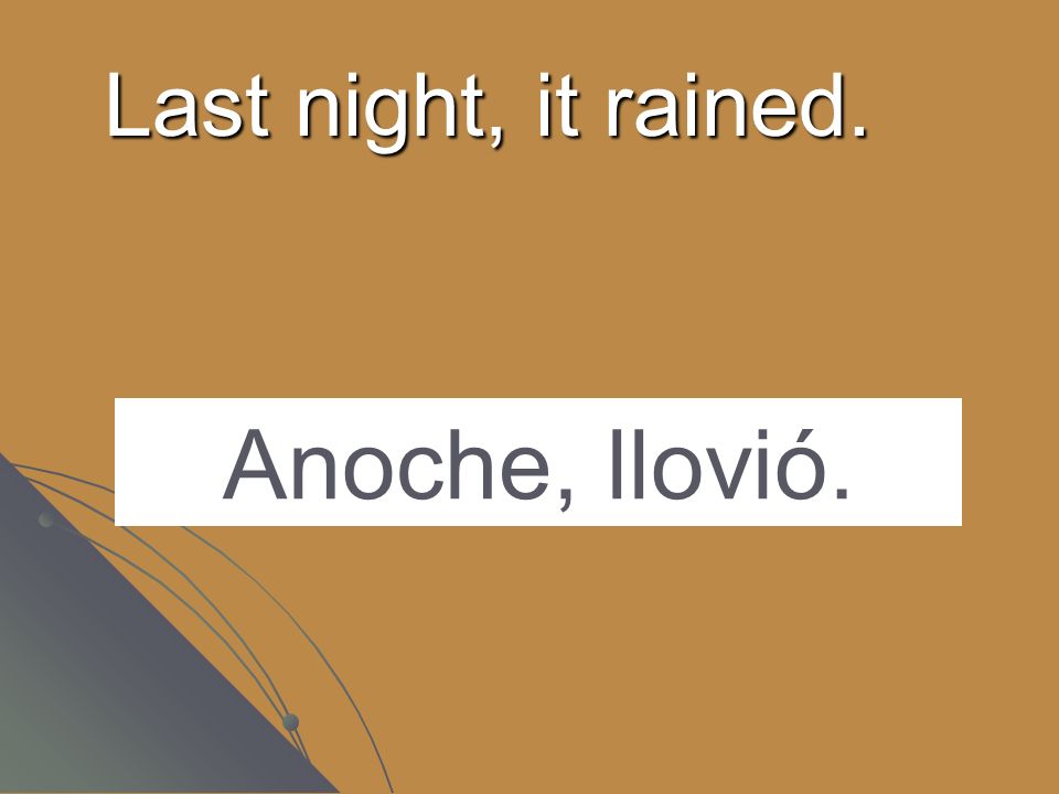 Last night, it rained. Anoche, llovió.