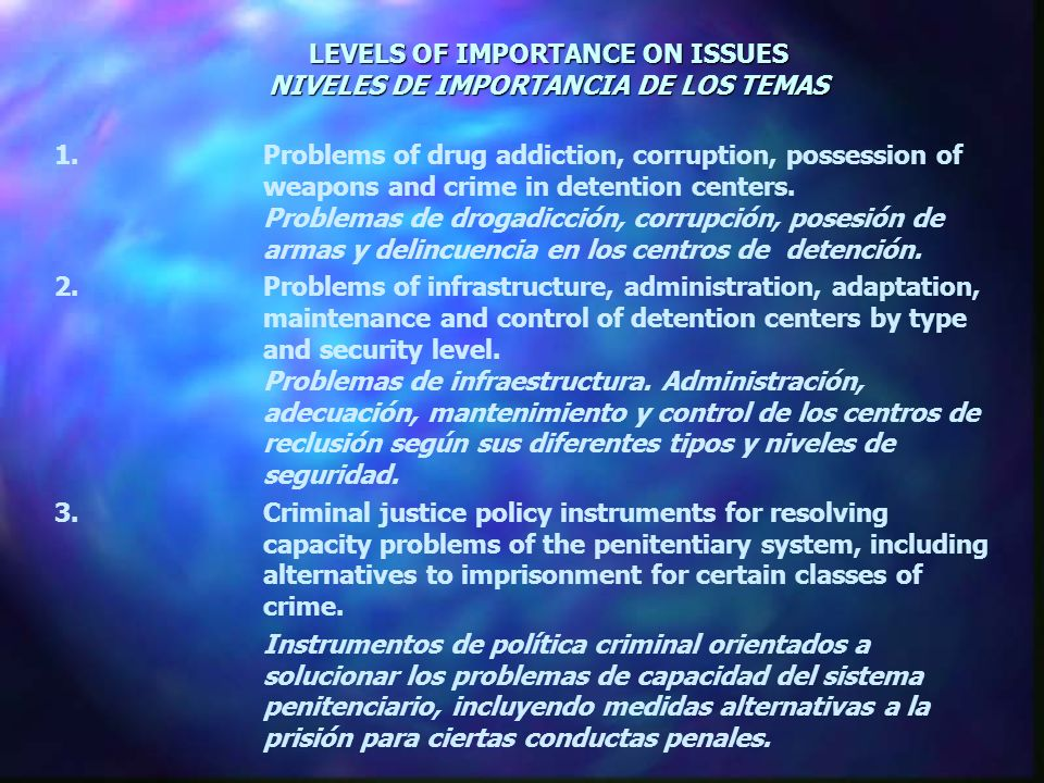 LEVELS OF IMPORTANCE ON ISSUES NIVELES DE IMPORTANCIA DE LOS TEMAS 1.Problems of drug addiction, corruption, possession of weapons and crime in detention centers.