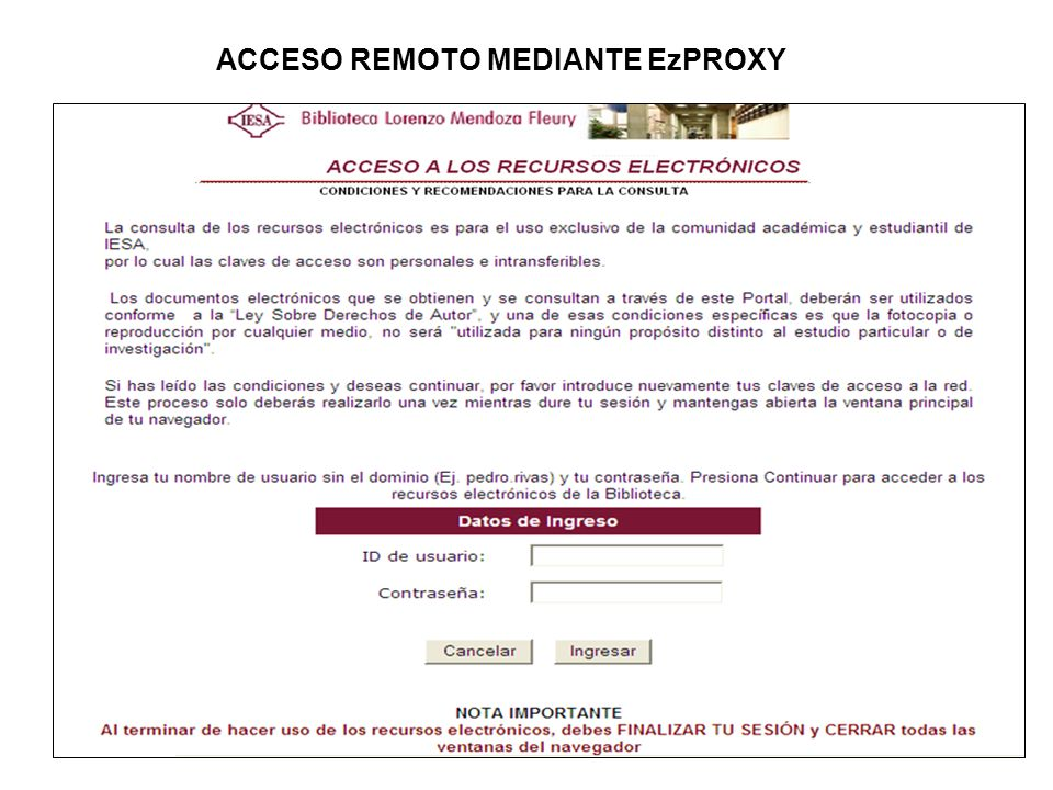 ACCESO REMOTO MEDIANTE EzPROXY