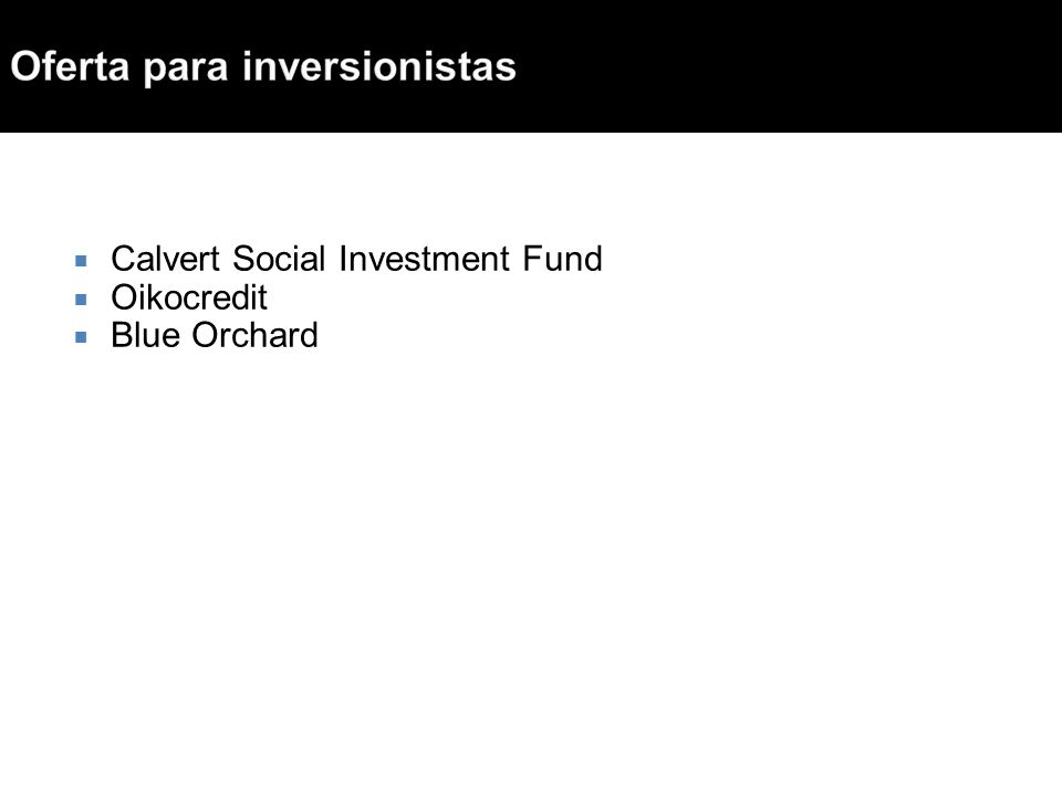 Calvert Social Investment Fund Oikocredit Blue Orchard
