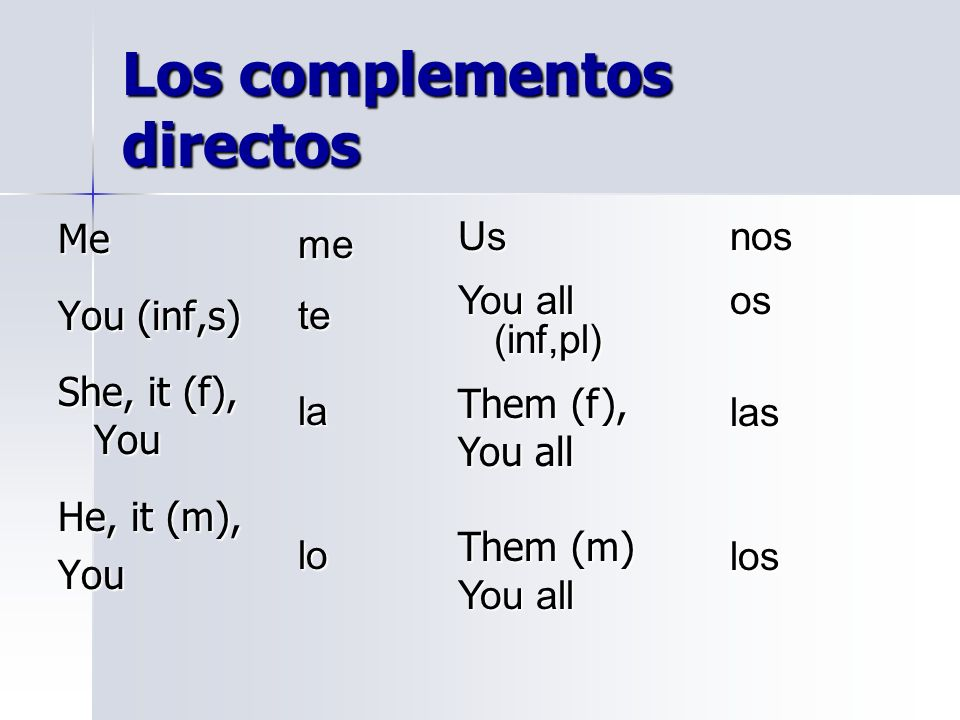 Los complementos directos Me You (inf,s) She, it (f), You He, it (m), You Us You all (inf,pl) Them (f), You all Them (m) You all metelalo nososlaslos