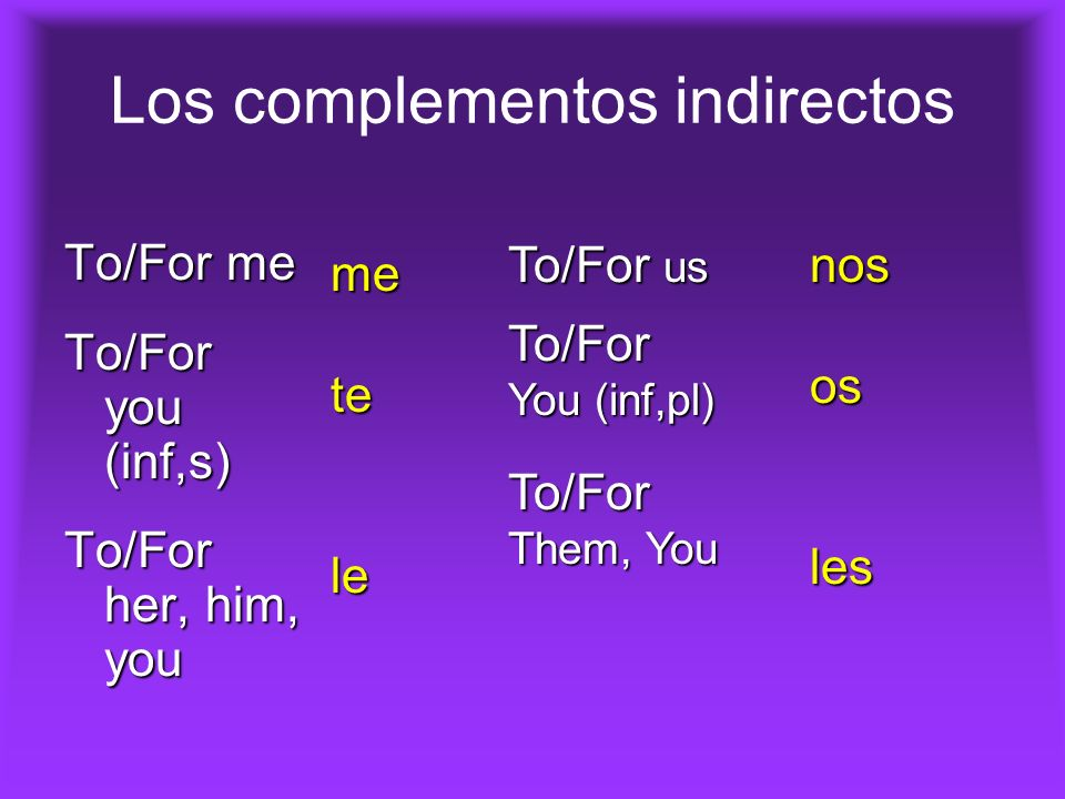 Los complementos indirectos To/For me To/For you (inf,s) To/For her, him, you To/For us To/For You (inf,pl) To/For Them, You metele nososles